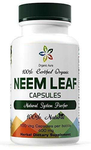 Organic Aura Neem Capsules. Natures Miracle Detoxifying Agent. Promotes Healthy Respiratory, Digestive and Immune System. 100% Natural and Raw Superfood Supplement. No GMO. Gluten Free. (Best Way To Take Morning Glory Seeds)