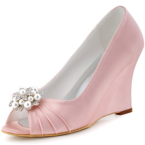 Shoes High Party Toe Women Evening Wedges Pleated Elegantpark Wedding Peep Heel Satin Pink EP2009 x7ABqFwS