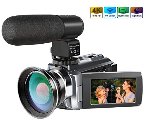 4K Camcorder,Ansteker 48MP 30FPS Ultra HD WiFi Video Camera IR Night Vision Digital Camcorder Portable 3 inch Touch Screen Camera Camcorder External Microphone Wide Angle Lens
