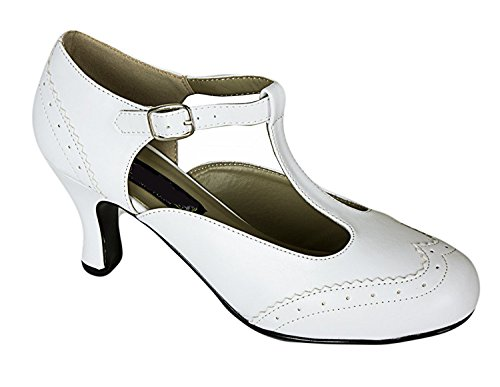 White T-Strap Mary Jane 1950s Vintage Style Rockabilly Br...