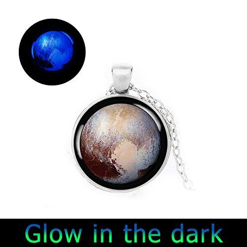 Glowlala Glow In The Dark Pluto Necklace Pendant Charm Dwarf Planet Pluto Space Probe Glowing Jewelry  3