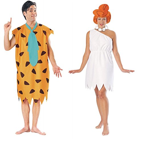COUPLES FRED AND WILMA FLINTSTONE ADULT HALLOWEEN COSTUME
