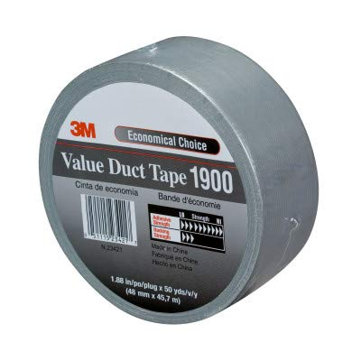 (3M 1900 Polyethylene Over Cloth Scrim Value Duct Tape, 200 Degree F Performance Temperature, 16 lbs/in Tensile Strength, 50 yds Length x 1-7/8