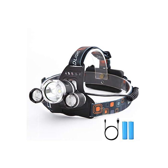 Yizhet Linterna Frontal LED Recargables Luces Super Brillantes,4 Modos de Luz y hasta 300 Metros Cabeza Impermeable para…