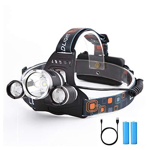LED Hoofdlamp, Yizhet 3LED Hoofdzaklamp 3000 lumen LED Hoofdlamp USB Koplamp Waterdicht, USB Oplaadbare Koplamp Hoek Van…