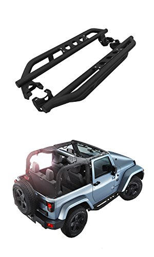Textured Black Rock Crawler Rock Slider Armor Bar Side Step Rail Nerf Bar Running Boards Fit 2007-2017 Jeep Wrangler JK 2 Door Rock Doors