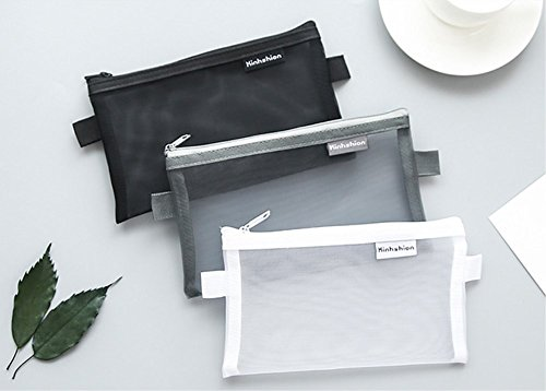 BoomYou 3 Pieces Zipper File Bags Organizer Mesh Zipper Pencil Case Storage Holder Transparent Paper Document Pouches for Office School, Business Receipts, Newspaper, Magazine (Large)