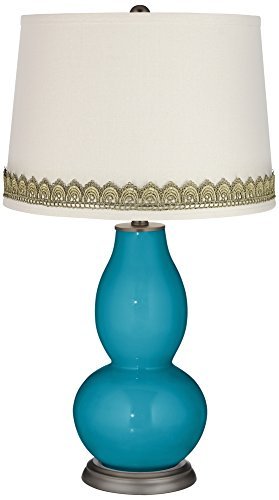 Caribbean Sea Double Gourd Table Lamp with Scallop Lace Trim (Scallop Shade Sea)