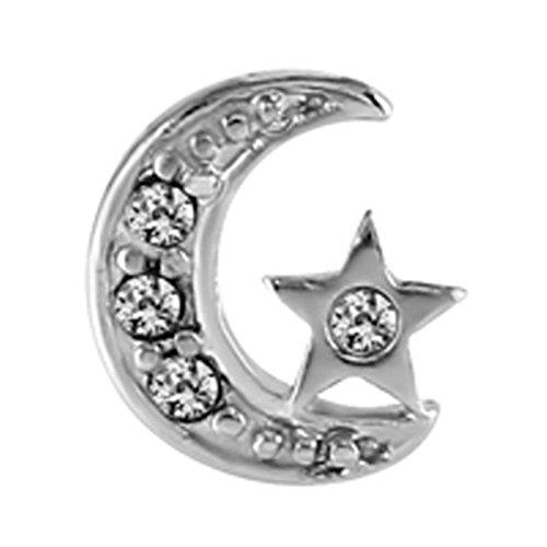 En acier strass STAR et lune en acier chirurgical pour tragus/Helix ou bar.. Taille calibre 1,2mm, longueur 6mm.
