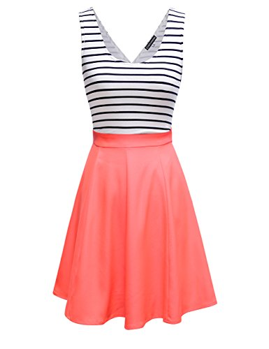 Omeya Womens Sexy Open Back Cocktail Slim Black White Striped Mini Dress (L, Coral)