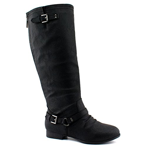 Premier Standard Women's Quilted Side Zip Knee High Flat Riding Boots - Trendy High Heel Shoe - Sexy Knee High Boot - Comfortable Easy Heel, TPS Coco-1 v50 Black Size 6.5