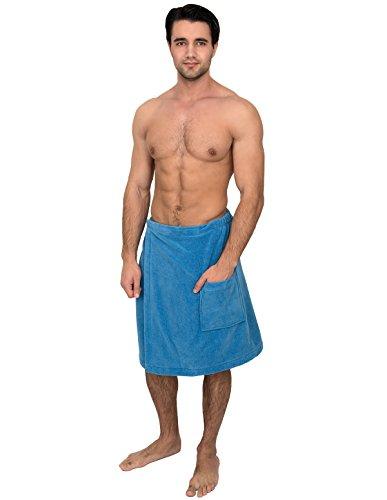 Adult Bath Wrap (TowelSelections Men's Wrap, Shower & Bath, Water Absorbent Cotton Lined Fleece Medium/Large Cendre Blue)