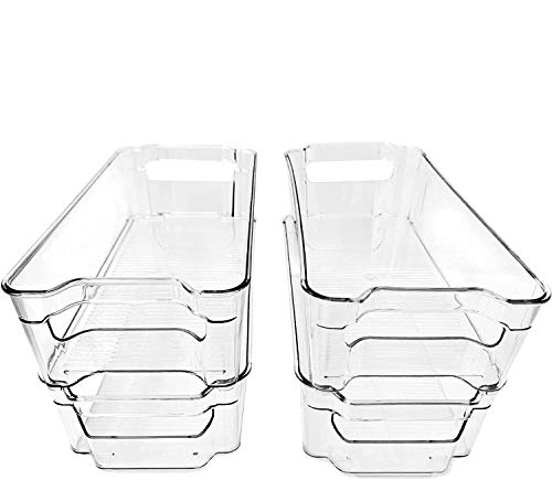 (4 Pack) Pantry and Refrigerator Organizer Bins for Kitchen and Cabinet Storage | Stackable Food Bins with Handles | BPA…