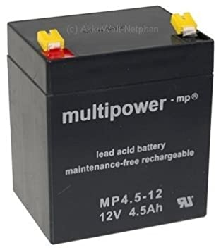 Lead Acid Battery Multipower Mp45 12 AGM Technology For Flymo Sabre Lawn HP