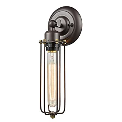 CLAXY Ecopower Vintage Style Industrial Mini Cage Wall Sconce