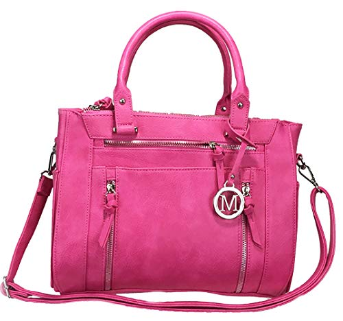 ZzFab Multi Zippers Fashion Locking Faux Leather Concealed Carry Gun Shoulder Bag Hot Pink (Western Purse Hot Pink)