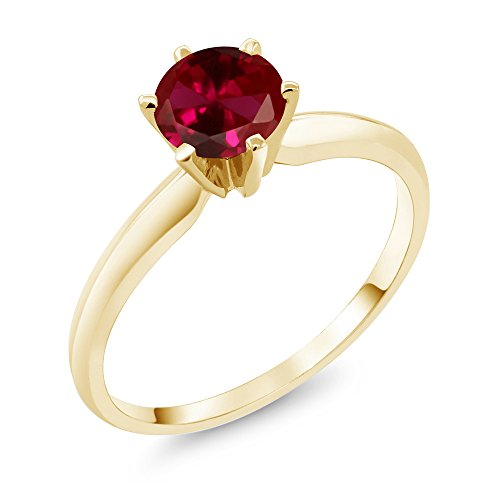 1.00 Ct Red Created Ruby 14K Yellow Gold Engagement Solitaire Ring (Available in size 5, 6, 7, 8, 9)