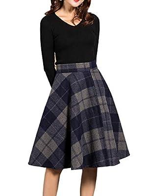 Medeshe Women's Plaid Wool A-Line Flare Skater Skirt