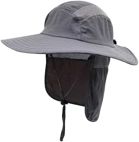 51e65988 Home Prefer Mens UPF 50+ Sun Protection Cap Wide Brim Fishing Hat with Neck  Flap