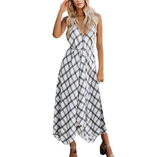 Casual Dress for Women Plaid Backless Sleeveless Waist Belt Back Crossover Flowy Pleated Hem Long Dresses (XL, White)