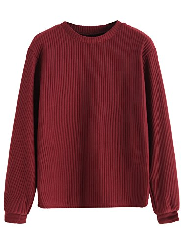 Drop Neck Sweater (Romwe Women's Ribbed Round Neck Drop Shoulder Batwing Long Sleeve Sweatshirt Burgundy One-Size)