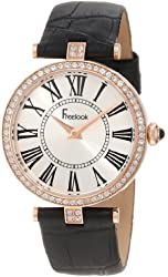 Freelook Women's HA1025RG-1 Black Leather Band Silver Dial Rose Gold Cse Swarovski Bezel Watch