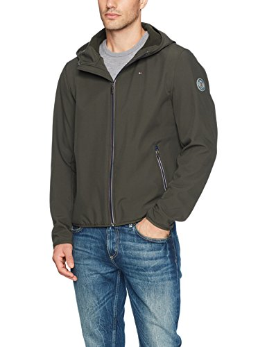 Tommy Hilfiger Men's Hooded Performance Soft Shell Jacket, Olive, Large by Tommy Hilfiger