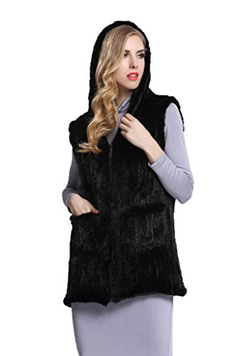 Womens Black Knitted Mink Fur Waistcoat Vest with Zipper Waistcoat(US 14) by Top Fur