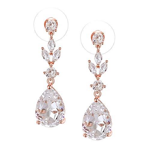 SWEETV Teardrop Dangle Earrings for Women,Bridesmaids,Brides -Crystal Rose Gold Earrings for Wedding,Bridal,Prom