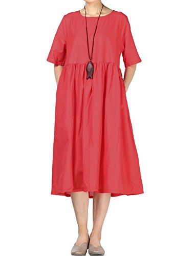 Mordenmiss Women's Cotton Linen Dress Summer Midi Dresses with Pockets (L Red)