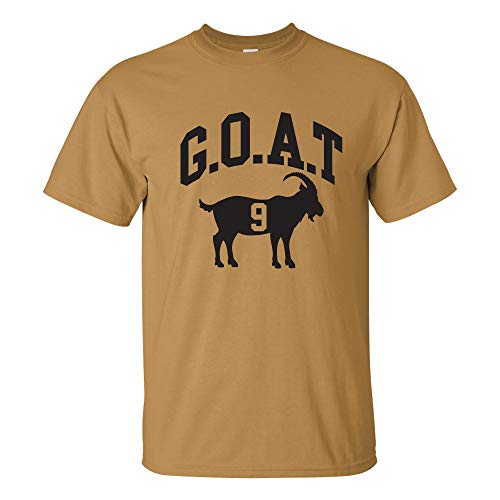 UGP Campus Apparel New Orleans Football Goat - Greatest All Time Sport Pass Touchdown T Shirt - Medium - Old Gold (Best Nfl Quarterbacks Of All Time List)
