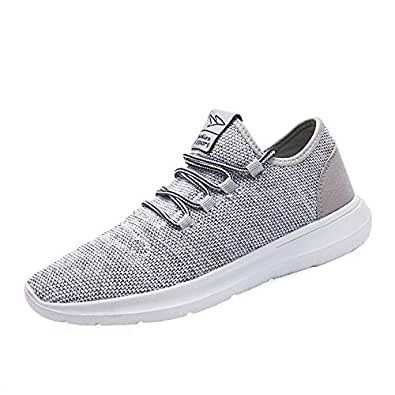 Vamtic Men's Sneakers Fashion Minimalist Lightweight Breathable Athletic Running Walking Shoes Slip-On for Tennis Volleyball Gym Gray Size: 8
