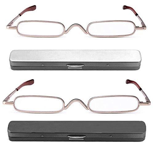 (REAVEE 2 Pack Metal Slim Reading Glasses Spring Hinged Pen Readers Small Rectangular Mini Portable Tube Readers w Pen Clip Case +2.0)