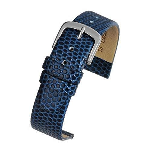 Strap Watch Lizard Grain (Lizard Grain Watch Strap Blue with Chrome Buckle Size 12mm to 22mm)