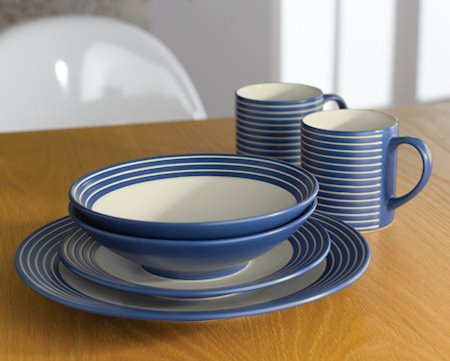 Denby Intro Stripes 16 Piece Tableware Set - Blue & Denby Intro Stripes 16 Piece Tableware Set - Blue: Amazon.co.uk ...