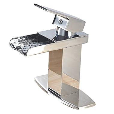 Eyekepper Modern Single Handle Waterfall Bathroom Sink Faucet (Chrome Finish)