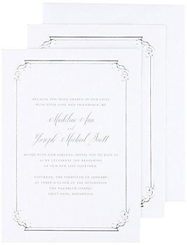 (Silver Foil Ornate Border Print at Home Invitation Kit)