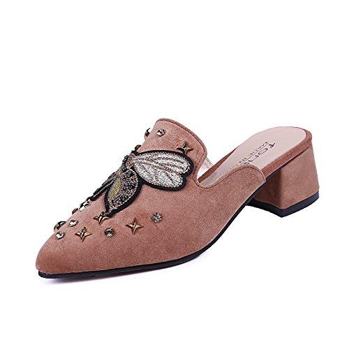 GAOLIM El Pequeño Manantial De Agua Que La Punta De La Broca Con Baja Zapatillas Femenina Baotou Zapatillas En Bruto Y Semi-Independiente De Zapatos De Mujer Marrón claro