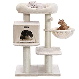 FEANDREA Cat Tree, Cat Tower with XXL Plush Perch, Basket Lounger Cat Condo with Adjustable Units, Cat Toys, Extra Thick…
