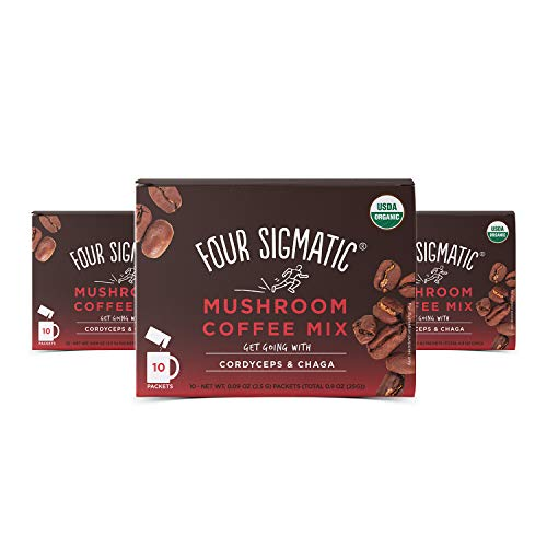 Four Sigmatic Mushroom Coffee Mix Cordyceps and Chaga Pack of 3 (30 Packets Total)