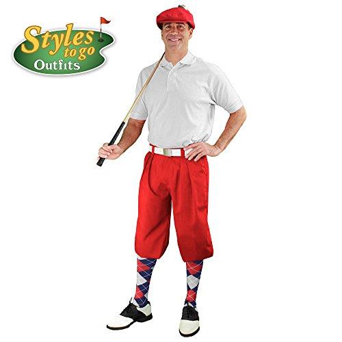 メンズゴルフOutfit – レッド、ホワイト、&ネイビーゴルフKnicker Complete Outfit
