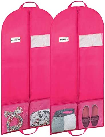 MASKEYON 60″ Garment Bags with Large Zipper Pocket for Dance Costume,Wedding Gown,Suit,Furs,Garment Bags for Travel and Storage(Set of 2,Pink)