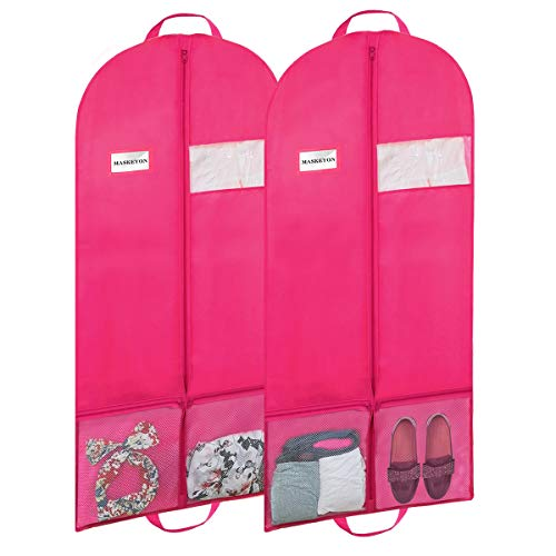 "MASKEYON 60"" Garment Bags with Large Zipper Pocket for Dance Costume,Wedding Gown,Suit,Furs,Garment Bags for Travel and Storage(Set of 2,Pink)"