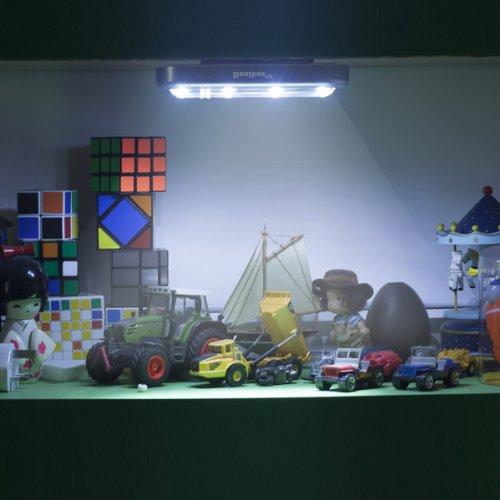 Danibos DIY Stick-on 4-LED Touch Tap Light Push Light, LED Night Light for Closets, Attics, Garages, Car, Sheds, Storage Room (2, Silver)
