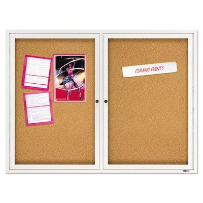 oor Cork Bulletin Board with Hinged Doors - Enclosed Bulletin Board, Natural Cork/Fiberboard, 48 x 36, Aluminum Frame ()