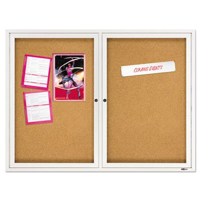Quartet Enclosed Indoor Cork Bulletin Board with Hinged Doors - Enclosed Bulletin Board, Natural Cork/Fiberboard, 48 x 36, Aluminum Frame