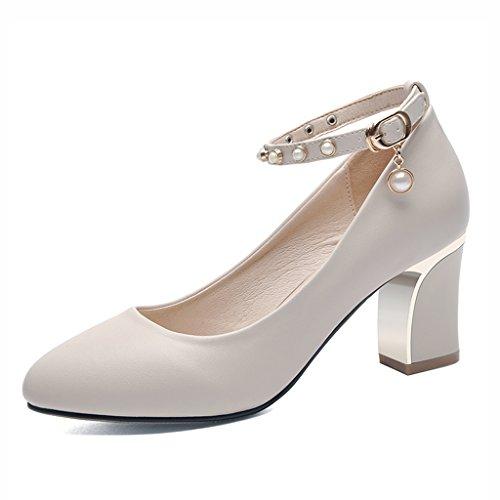 Zapatos para mujer HWF Primavera Zapatos de Tacón Alto Negros (Color : Beige, Tamaño : 40) Beige