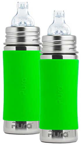 Pura Kiki Stainless Steel Toddler Sippy Bottle with Green Si
