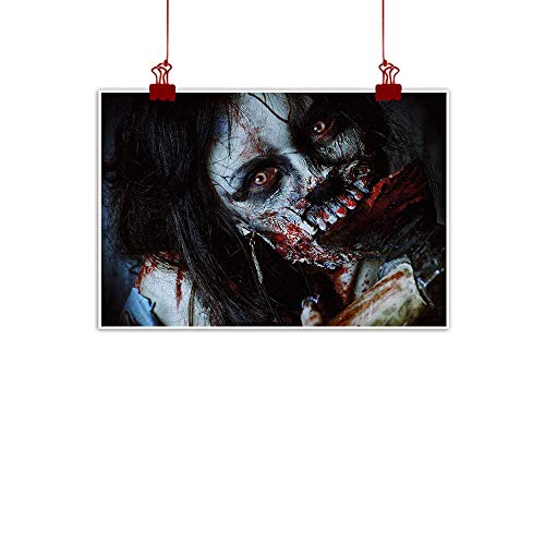 duommhome Zombie Landscape Painting Scary Dead Woman with a Bloody Axe Evil Fantasy Gothic Mystery Halloween Picture Bedroom Bedside Painting W28 xL20 Multicolor