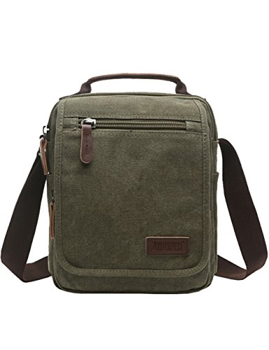 - Vertical Canvas Messenger Bag, Mygreen Unisex Casual leather Shoulder Bag Satchel Crossbody Bag for Outdoor Activities, Travel